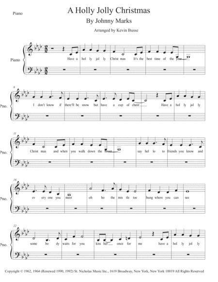 A Holly Jolly Christmas Original Key Piano  music sheet