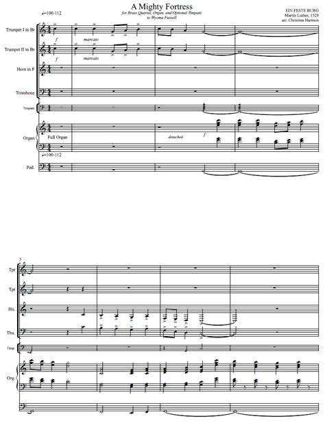 A Mighty Fortress Is Our God Brass Quartet Organ And Optional Timpani  music sheet