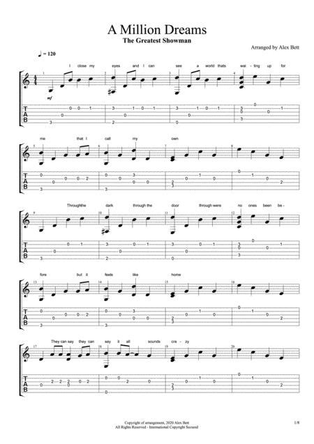 A Million Dreams Acoustic Fingerstyle Guitar Solo  music sheet