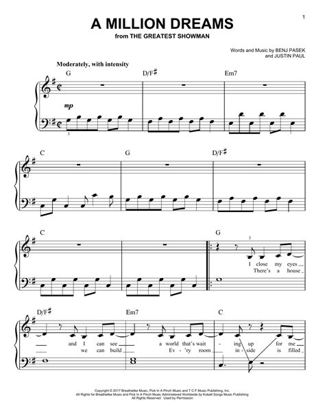 A Million Dreams Level 1b  music sheet