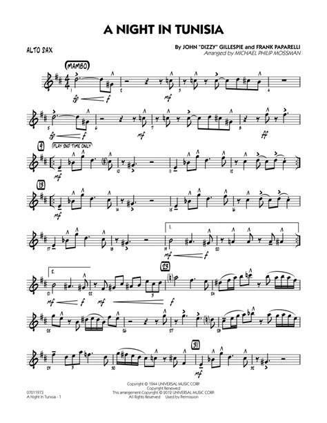 A Night In Tunisia With 4 Saxophons  music sheet