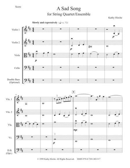 A Sad Song String Quartet Ensemble  music sheet