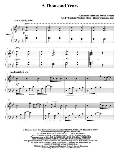 A Thousand Years Arranged For Harp  music sheet