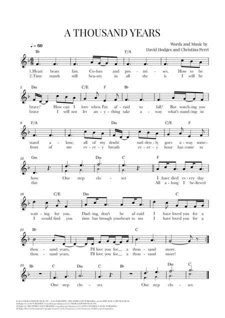 A Thousand Years Christina Perri F Major  music sheet