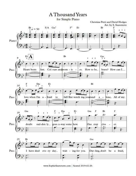 A Thousand Years Easiest Piano Arrangement  music sheet