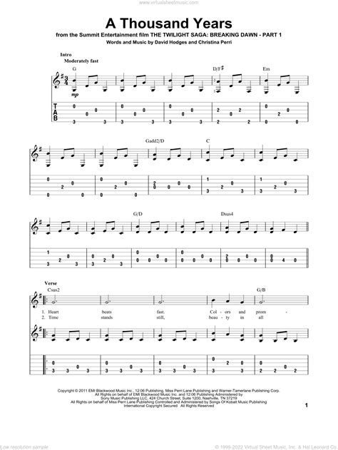 A Thousand Years For String Quintet Easy  music sheet