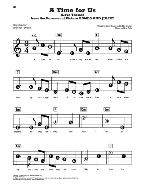 A Time For Us Love Theme Romeo Juliet  music sheet