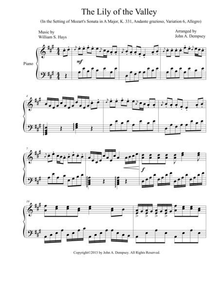 A Touch Of Mozart The Lily Of The Valley Piano Solo  music sheet