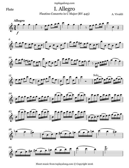 A Vivaldi Flautino Concerto Rv443  music sheet
