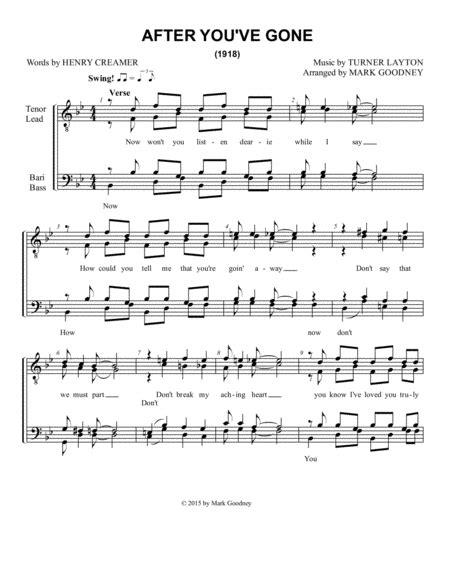 After You Ve Gone Barbershop Men Ttbb Chorus Quartet  music sheet