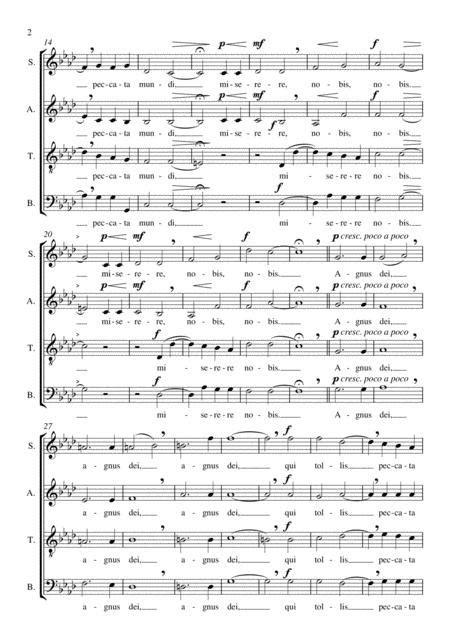 Agnus Dei Grancini M For Satb Choir Part For Bass In Evidence Mp3  music sheet