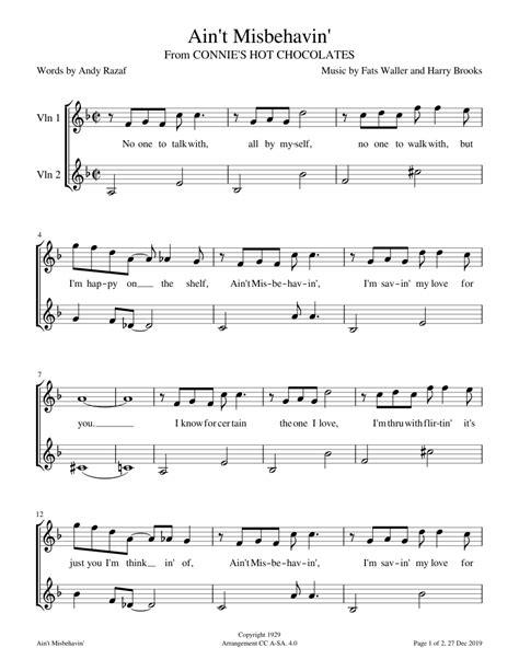 Aint Misbehavin Violin 3  music sheet