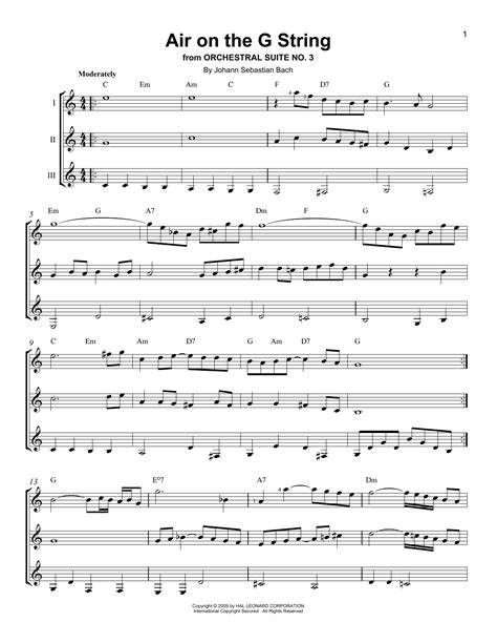 Air On The G String For Flexible Instrumentation Quartet  music sheet