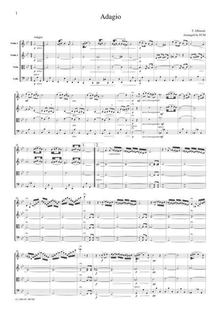 Albinoni Adagio In G For String Quartet Ca001  music sheet