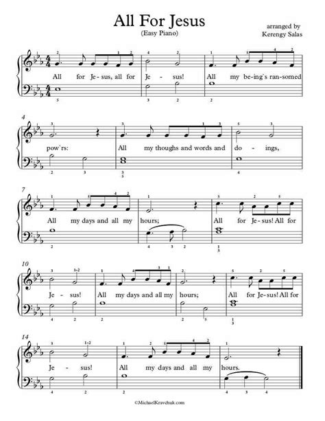 All For Jesus For Easy Piano  music sheet