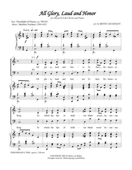 All Glory Laud And Honor Easter Hymn Arranged For Mixeds A B Chorus And Piano  music sheet