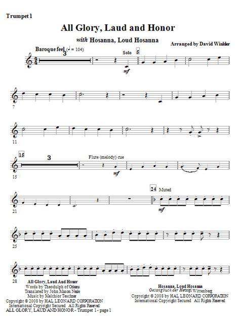 All Glory Laud And Honor With Hosanna Loud Hosanna Duet For Bb Trumpet  music sheet