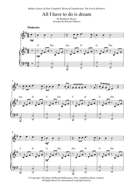 All I Have To Do Is Dream Bb Clarinet Solo And Piano Accompaniment  music sheet