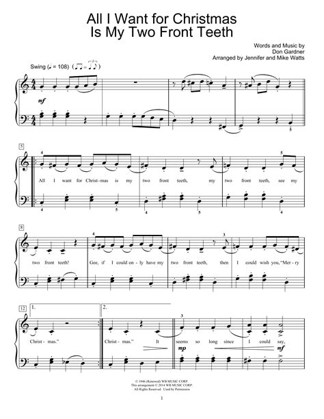 All I Want For Christmas Is My Two Front Teeth Duet For Tenor Bass Solo  music sheet