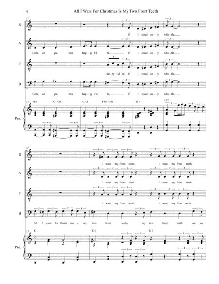 All I Want For Christmas Is My Two Front Teeth Satb Sax Quartet  music sheet