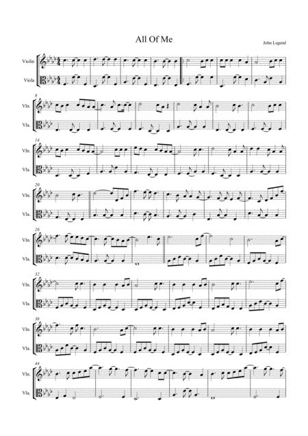 All Of Me By John Legend Arranged For String Duo Violin Viola  music sheet