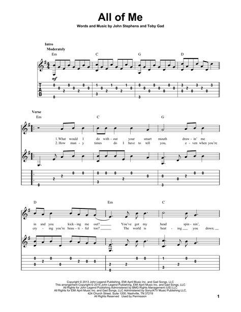 All Of Me Guitar Tablature  music sheet