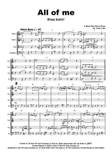 All Of Me Jazz Classic String Quartet  music sheet