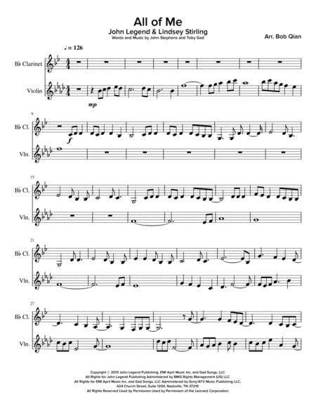 All Of Me John Legend Lindsey Stirling Version Clarinet Violin  music sheet