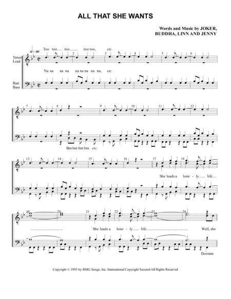 All That She Wants Ttbb  music sheet