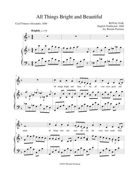 All Things Bright And Beautiful Royal Oak Low Voice Arr Brenda Portman  music sheet