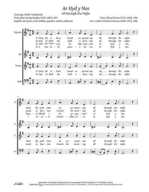 all through the night ar hyd y nos bass clef music sheet