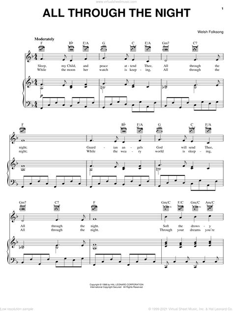 All Through The Night For Voice And Classical Guitar  music sheet