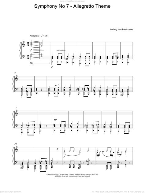Allegretto From Symphony No 7 For String Orchestra  music sheet