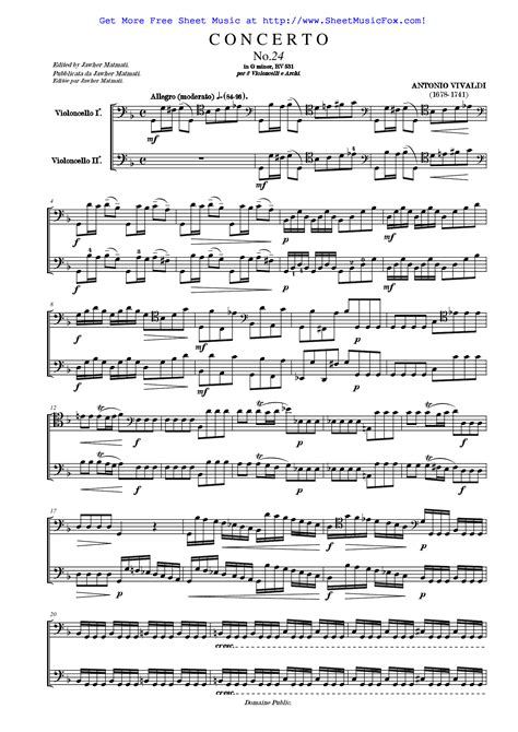 Allegro From Concerto For Two Cellos In G Minor Rv 531  music sheet