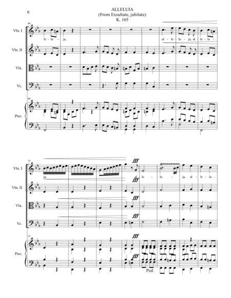 Alleluia From Exsultate Jubilate K 165 Arr For String Quartet And Piano Soprano Lyrics Ad Libitum With Parts  music sheet