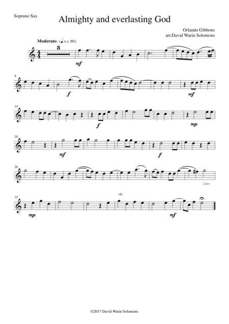 Almighty And Everlasting God For Saxophone Quartet  music sheet