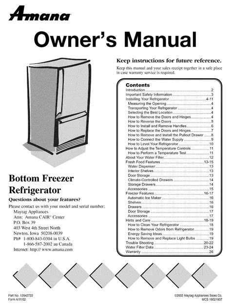 free download ebooks Amana Refrigerator Manual Bottom Zer.pdf