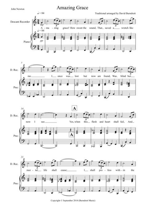 Amazing Grace For Descant Recorder And Piano  music sheet