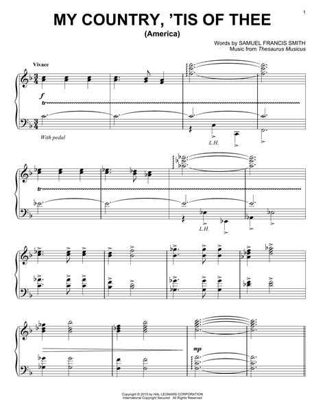 America My Country Tis Of Thee Easy Piano  music sheet