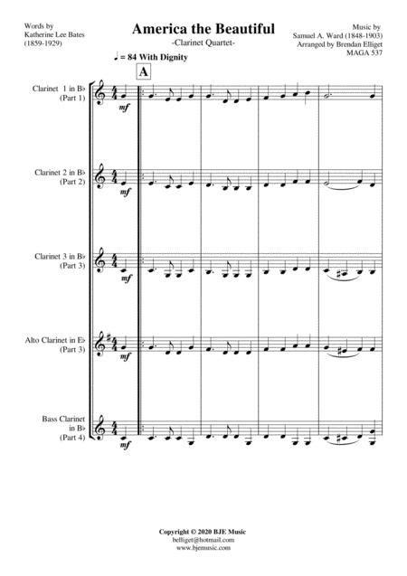 America The Beautiful Clarinet Quartet Score And Parts Pdf  music sheet