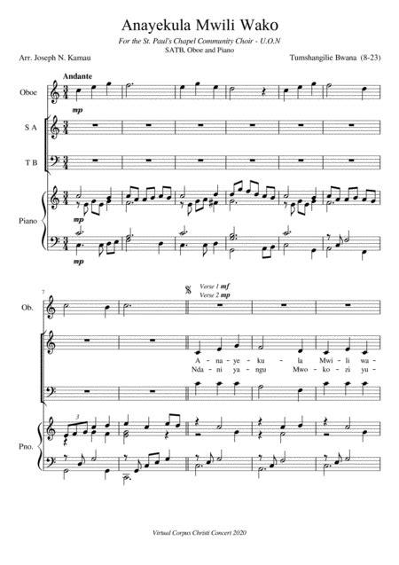 Anayekula Mwili Wako  music sheet