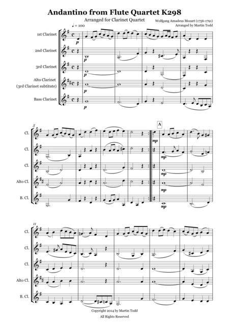 Andantino From Flute Quartet K298 Arranged For Clarinet Quartet  music sheet