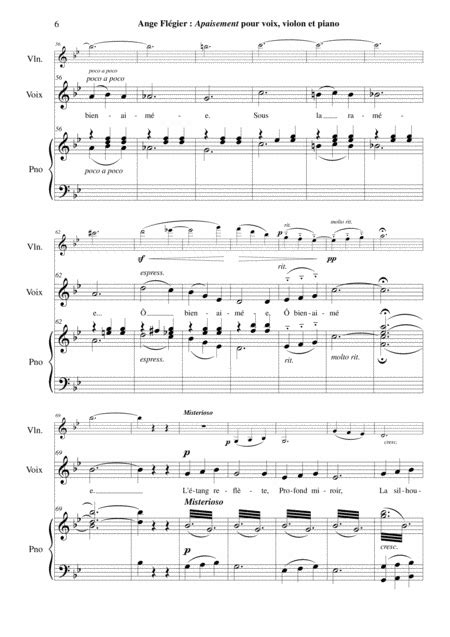 Ange Flgier Apaisement For Medium Voice And Piano  music sheet