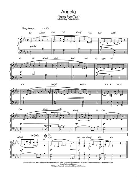 Angela Theme From Taxi  music sheet