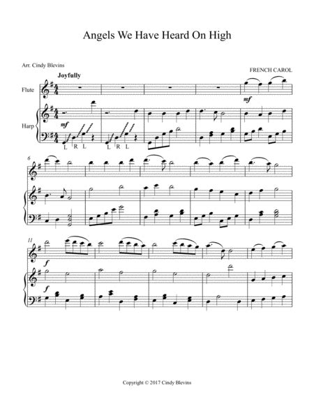 angels we have heard on high arranged for harp and flute music sheet