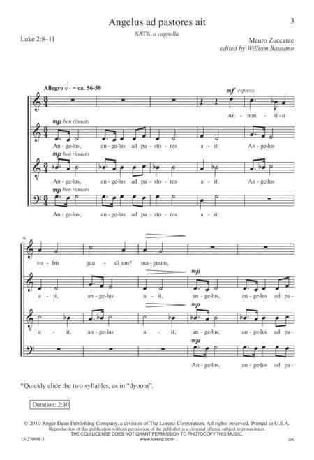 Angelus Ad Pastores Ait For Saxophone Choir  music sheet