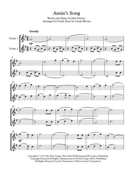 annies song arranged for piano and violin music sheet