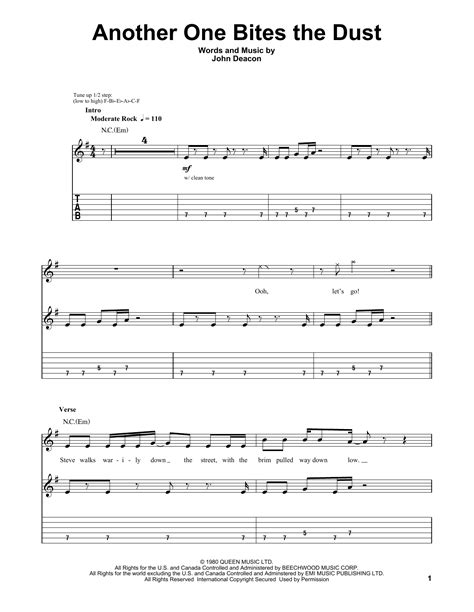 Another One Bites The Dust Beginner Edition  music sheet