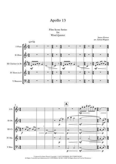 Apollo 13 James Horner Flute Choir Arr Adrian Wagner  music sheet