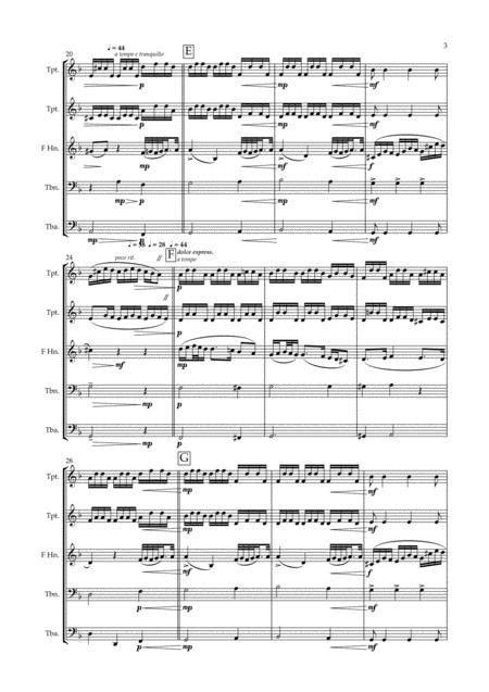 Aria From L Orfeo Ed Euridice Gluck For Brass Quintet Horn In F Solo  music sheet